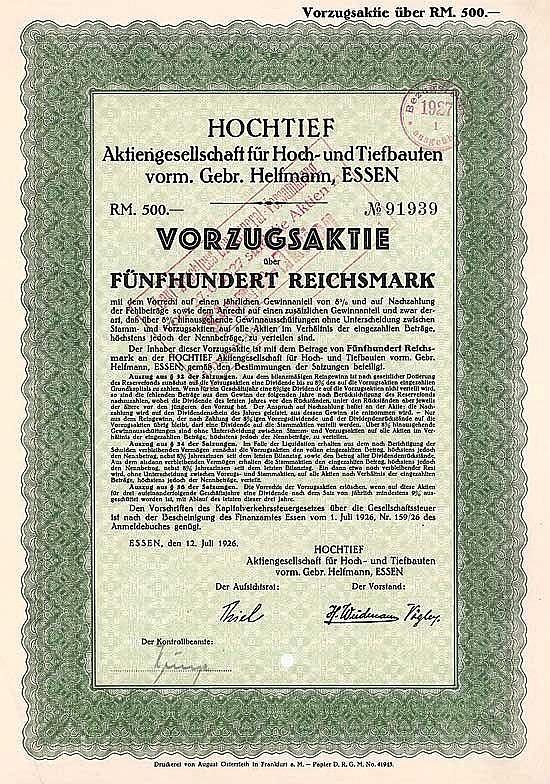 Hochtief AG für Hoch- und Tiefbauten vorm. Gebr. Helfmann