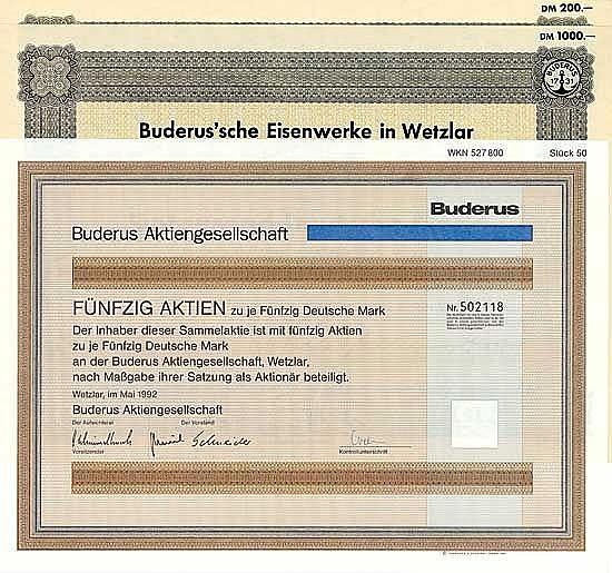 Buderus'sche Eisenwerke (4 Stücke) + Buderus AG (3 Stücke)