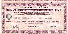 """Cie. Universelle du Canal Maritime de Suez S.A. (überdruckt mit """"Cie. Financière de Suez"""")"""