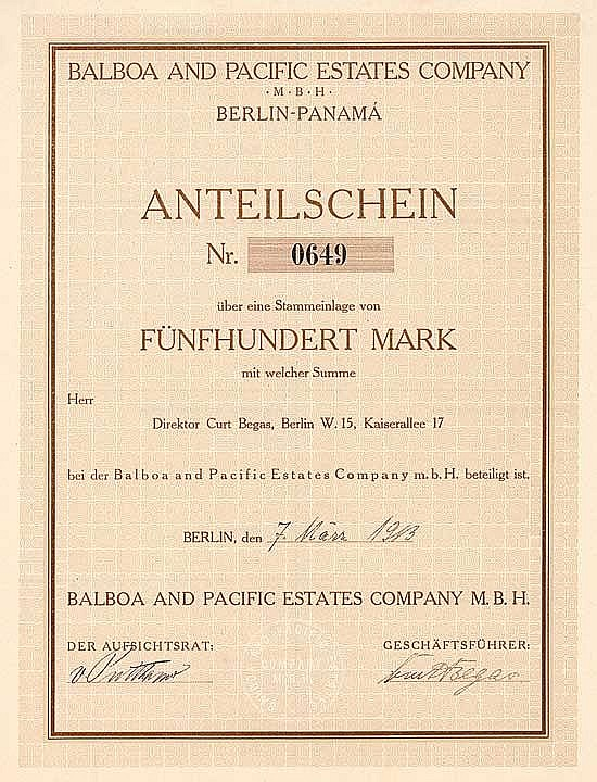Balboa and Pacific Estates Company mbH