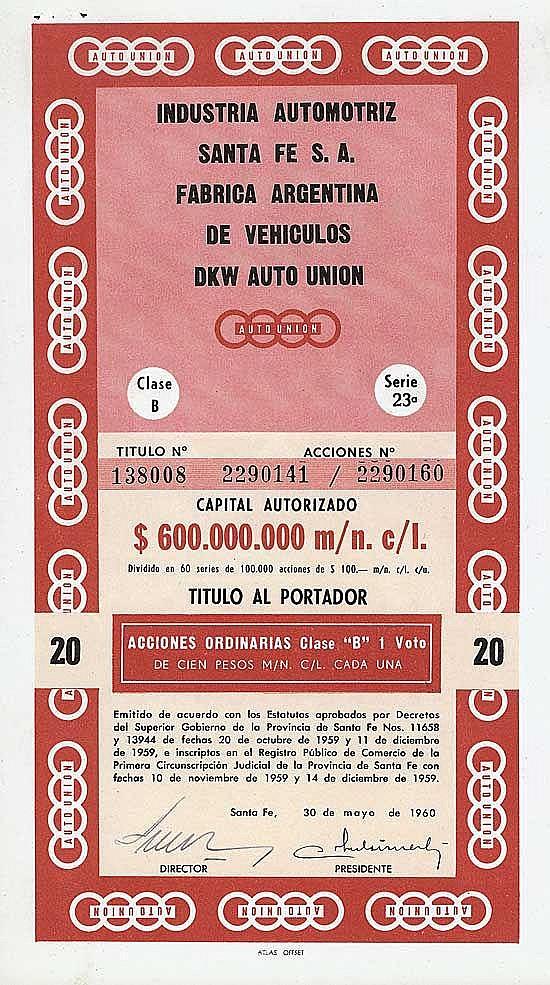 Industria Automotriz Santa Fe S.A. Fabrica Argentina de Vehiculos DKW Auto Union