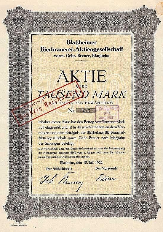 Blatzheimer Bierbrauerei-AG vorm. Gebr. Breuer