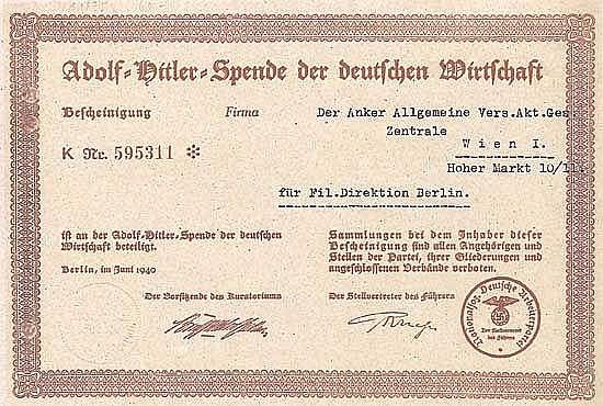 Adolf-Hitler-Spende der deutsche Wirtschaft
