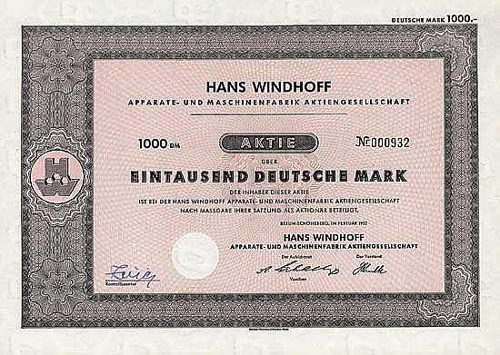 Hans Windhoff Apparate- und Maschinenfabrik AG