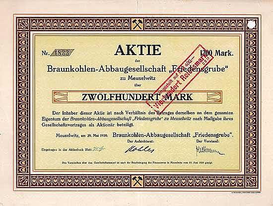 """Braunkohlen-Abbaugesellschaft """"Friedensgrube"""""""