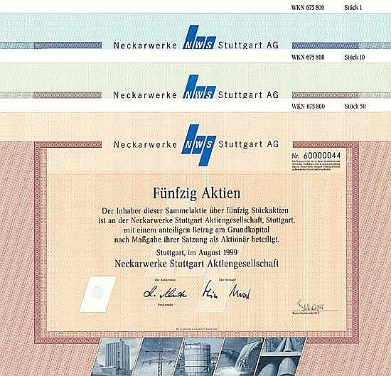 Neckarwerke Elektrizitätsversorgungs-AG (3 Stücke)