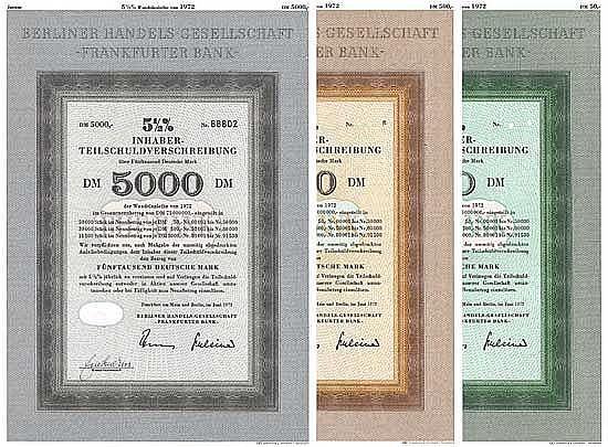 Berliner Handels-Gesellschaft - Frankfurter Bank (3 Stücke)