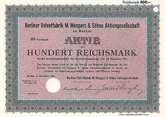 Berliner Velvetfabrik M. Mengers & Söhne AG (Blankette)
