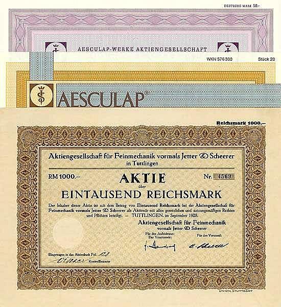 AG für Feinmechanik vormals Jetter & Scheerer + Aesculap (3 Stücke)