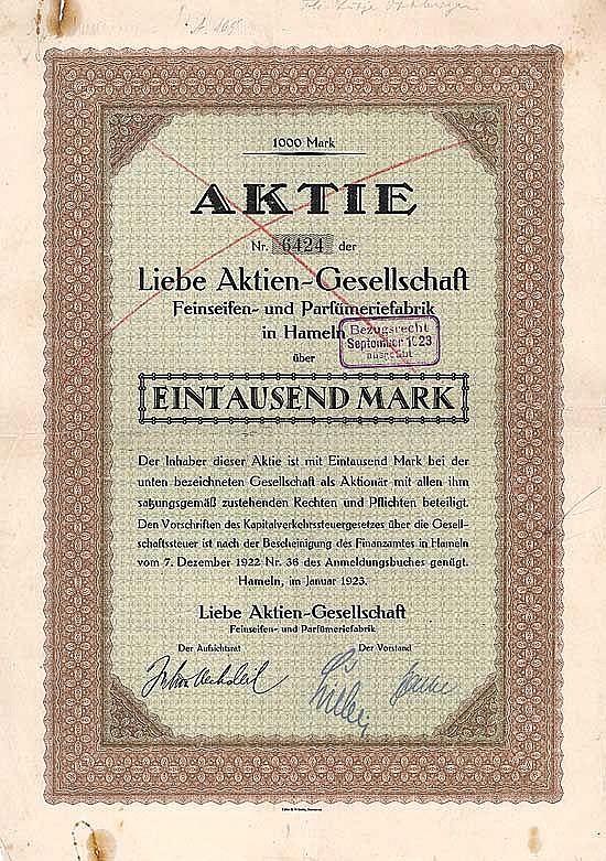 Liebe AG Feinseifen- und Parfümeriefabrik
