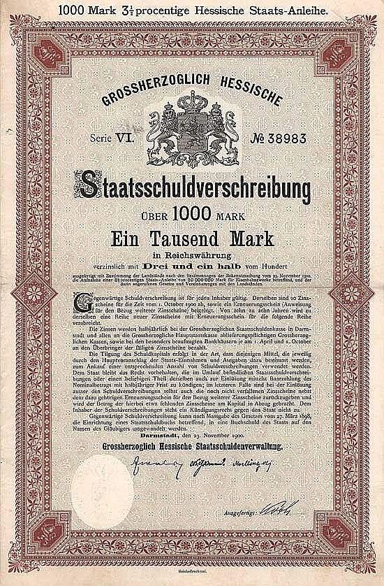 Grossherzogtum Hessen (VI. Anleihe für Eisenbahnzwecke)