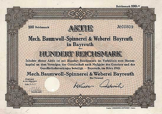 Mech. Baumwoll-Spinnerei & Weberei Bayreuth