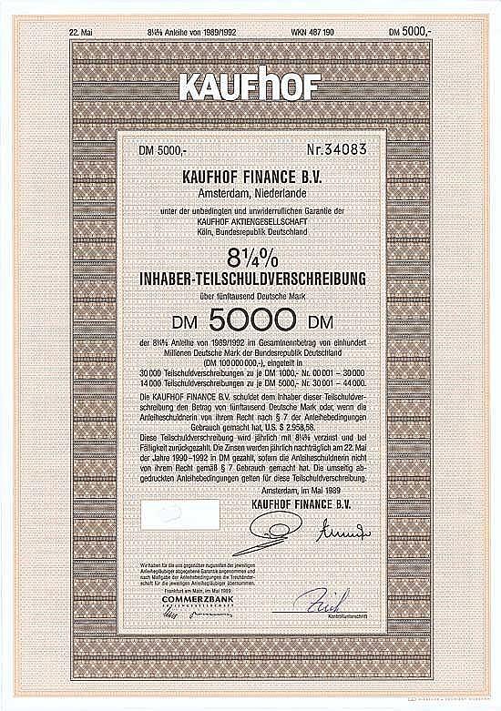 Kaufhof Finance B.V.