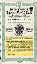 État d'Alagoas Emprunt 5 % Or 1906