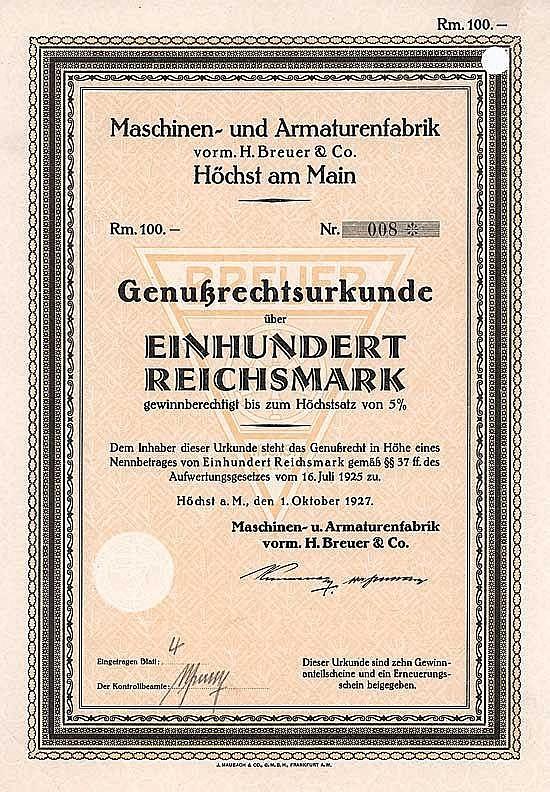 Maschinen- und Armaturenfabrik vorm. H. Breuer & Co.