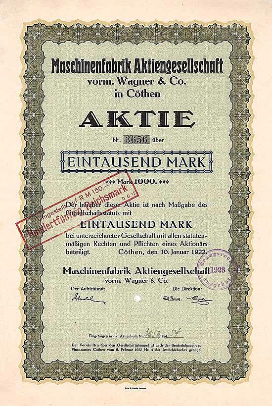 Maschinenfabrik AG vorm. Wagner & Co.