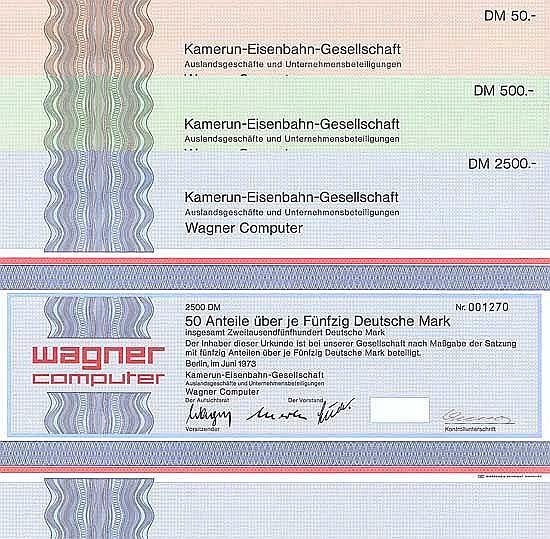 Kamerun-Eisenbahn-Gesellschaft Auslandsgeschäfte und Unternehmensbeteiligungen Wagner Computer (3 Stücke)