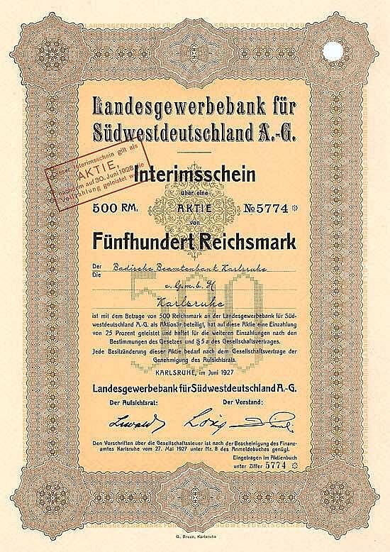 Landesgewerbebank für Südwestdeutschland AG