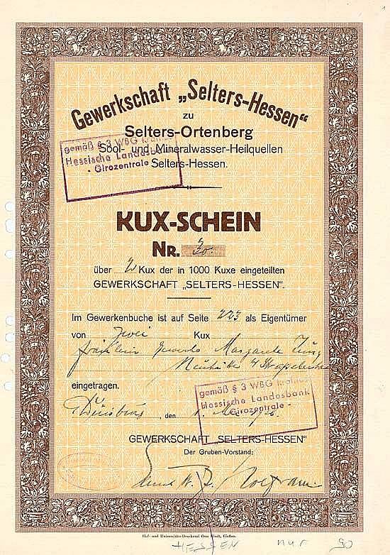 Gewerkschaft Selters-Hessen Sool- und Mineralwasser-Heilquellen
