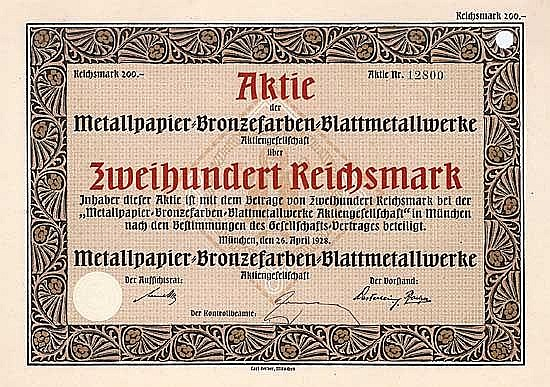 Metallpapier-Bronzefarben-Blattmetallwerke AG