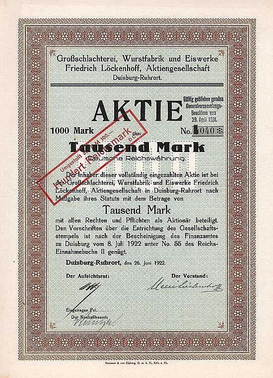 Großschlachterei, Wurstfabrik und Eiswerke Friedrich Löckenhoff AG