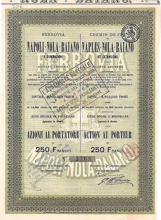Ferrovia Napoli-Nola-Baiano e dirmazioni (Chemin de Fer de Naples-Nola-Baiano et extensions)