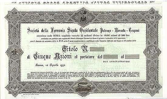Soc. della Ferrovia Sicula Occidentale Palermo-Marsala-Trapani