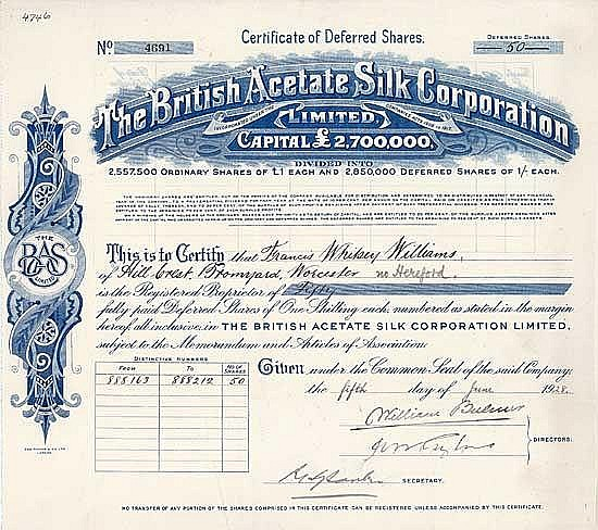 British Acetate Silk Corp. Ltd.