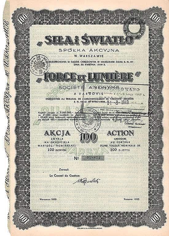 """Sp.Akc. """"Sila i Swiatlo"""" (S.A. """"Force et Lumière"""")"""