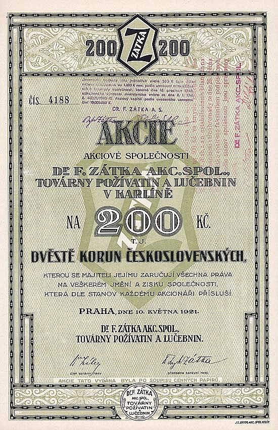 Dr. F. Zátka AG Nahrungsmittelfabriken (Dr. F. Zátka Akc. Spol. Továrny Pozivatin a Lucebnin v Karline)