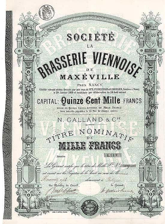 Soc. La Brasserie Viennoise de Maxéville N. Galland & Cie.