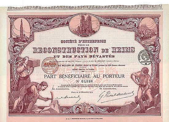Soc. d'Entreprise pour la Reconstruction de Reims et des Pays Dévastés