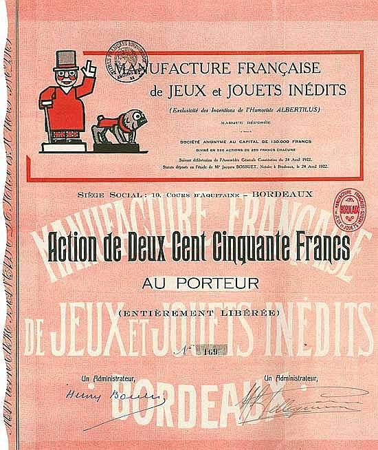 Manufacture Francaise de Jeux et Jouets inédits S.A.