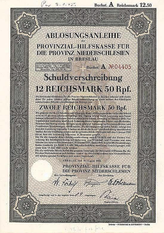 Provinzial-Hilfskasse für die Provinz Niederschlesien