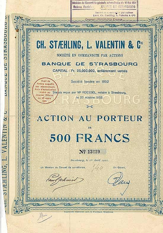 Ch. Staehling, L. Valentin & Cie. S.C.p.A. Banque de Strasbourg