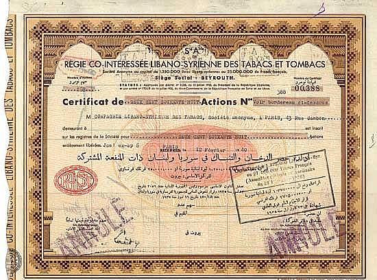S.A. de Régie Co-Intéressée Libano-Syrienne des Tabacs et Tombacs