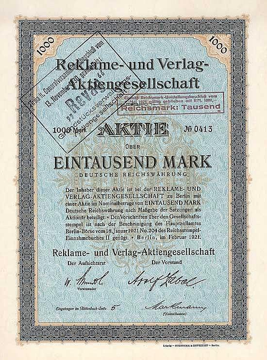 """Reklame- und Verlag-AG (ab 1930 """"Revag"""" Grundstücksverwaltungs-AG)"""