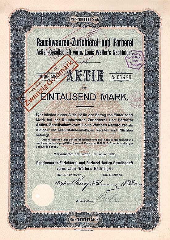 Rauchwaaren-Zurichterei und Färberei AG vorm. Louis Walter's Nachf.
