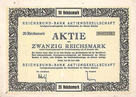 Reichsbund-Bank AG Vermögensverwaltungsstelle des Reichsbundes der höheren Beamten