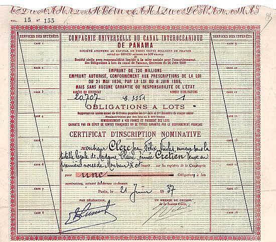Cie. Universelle du Canal Interocéanique de Panama S.A.