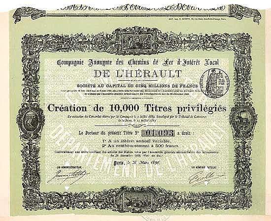 Cie. Anonyme des Chemins de Fer d'Interest Local de l'Héraut