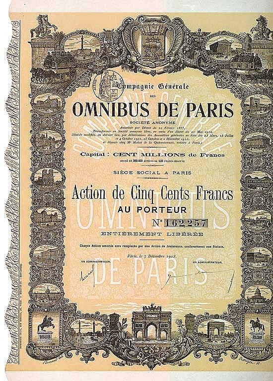 Cie. Gén. des Omnibus de Paris S.A.