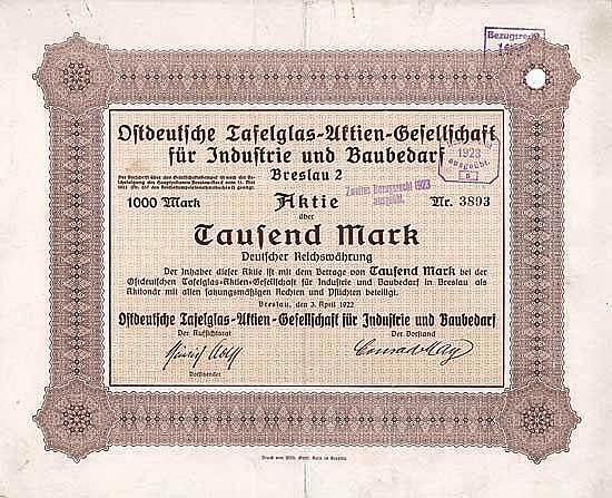 Ostdeutsche Tafelglas-AG für Industrie und Baubedarf
