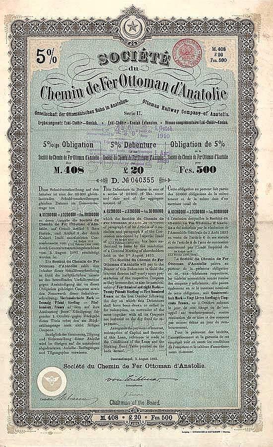 Soc. du C.d.F. Ottoman d'Anatolie S.A. (Gesellschaft der Ottomanischen Bahn in Anatolien AG)