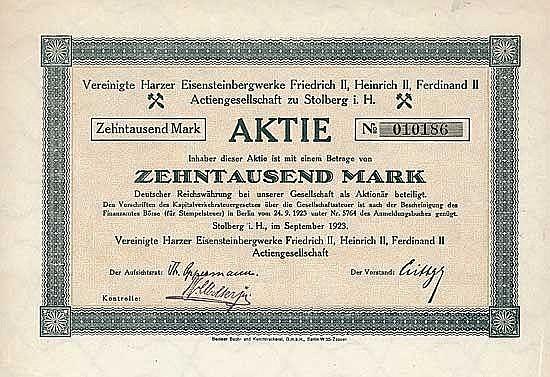 Vereinigte Harzer Eisensteinbergwerke Friedrich II, Heinrich II, Ferdinand II AG