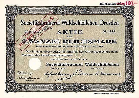 Societätsbrauerei Waldschlößchen (gültig mit 100 RM)