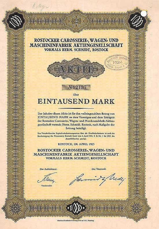 Rostocker Carosserie-, Wagen- und Maschinenfabrik AG vorm. Herm. Schmidt