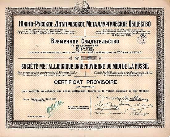 Soc. Métallurgique Dniéprovienne du Midi de la Russie