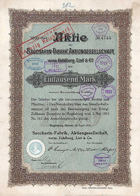 Saccharin-Fabrik AG vorm. Fahlberg, List & Co.