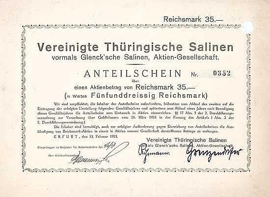 Vereinigte Thüringische Salinen vormals Glenck'sche Salinen AG